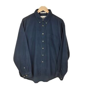 Classic Dust Blue Long Sleeve Oversize Retro Corduroy Cord Shirt Size XL