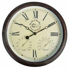 Esschert Design Reloj de Estación Pared con Termo-Higrómetro 30,5cm TF009 Marrón