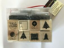 New ListingRecollections Christmas Rubber Stamp Kit Stamp Set 16 Stamps, 2 Ink Pads