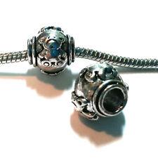3 Beads - Teddy Bear Animal Silver European Bead Charm E1352