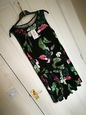 New Asos Womens Ladies Midi Dress Size 14 Viscose Black Print Flowers Skater K