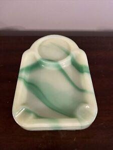 Vtg Art Deco 1930s Agate Swirl Glass Ashtray Vidrio Products Corp Green & White