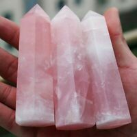 Natural Rock Pink Rose Quartz Crystal Wand Point Healing Mineral Stone 50-75mm