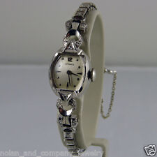 Ladies Longines14k White Gold & Diamond Wristwatch - Circa 1950-60s