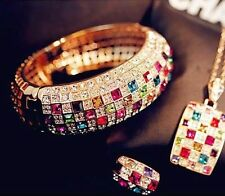 2015 Luxury Women Colourful Rhinestone Crystal Finger Dazzling Ring Jewelry SHCA