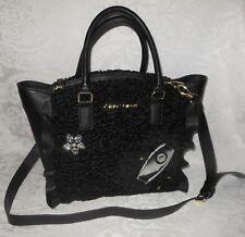 Betsey Johnson Womens Fuzzy Faux Leather Satchel Handbag Purse Black $98 NWT