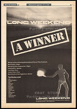 LONG WEEKEND__Original 1980 Trade print AD_poster__horror promo__JOHN HARGREAVES