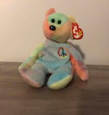 """Ty Beanie Baby Rare 1996 """"Peace"""" Bear Collectible with Multiple Tag Errors"""