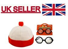 Red And White Striped Hat Glasses Set Nerd Geek Book Day Fancy Dress.
