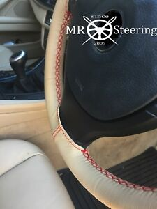 BEIGE LEATHER STEERING WHEEL COVER FITS 2005-2010 VW PASSAT B6 RED DOUBLE STITCH
