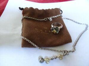 Saint Sarah Jane Sterling Silver 18K Bees Pearl Necklace Aquamarine Ring Set