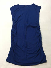 Gap Maternity L Large Blue Ruched Side Sweater Dress Cap Sleeve