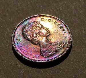 1972 Canada Penny Beautiful Vivid Rainbow Tone - 1 Cent Coin w/ Toning