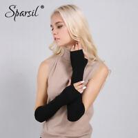 Women Winter Arm Warmers Cashmere Fingerless Long Gloves Warm Mittens 50 cm