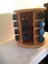 M.Kamenstein Wood Revolving 16 Glass Jar Spice Rack & Utensil Holder