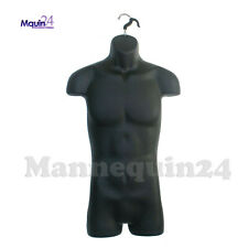 Black Male Torso Mannequin with Hook for Hanging Men Dress Form