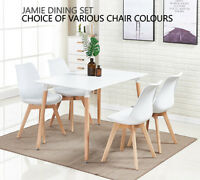 Jamie Dining Set - 4 x Jamie Tulip Dining Chairs & White Halo Wood Dining Table