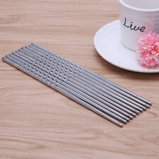 5 Pairs Stainless Steel Durable Silver Thread Style Chopsticks Non-slip Hotly