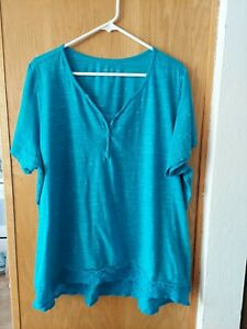 Womens Catherines Blue Knit Top Size 2X