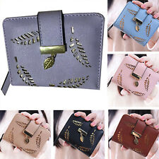 Womens Ladies Short Small Money Purse Wallet PU Leather Folding Coin Card Holder