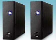 Lot 2: NEW Tiny Fanless Desktop Mini ITX Black PC Case, 2x Front USB, Blue LED