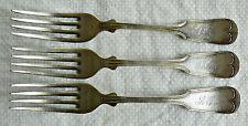 """3 Wm Rogers Silverplated Antique Fiddle / Threaded Forks 7-3/8"""" Mono MG"""