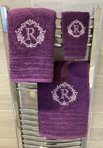 Monogram Towel Sets, Luxury Facecloths, Hand Towels, Bath Towels Damask Initial