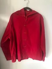 Vintage rare 50s mens cotton red jacket with hood size medium
