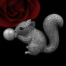 Cute Vintage Figural Shell Pearl and Pave CZ Brown Eyes Squirrel Brooches Silver