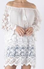 White Lace Bardot Gypsy Kaftan Tunic Top Cool Long Soft Ornate One Size New