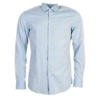 Hugo Boss Camisa Azul Algodón Entallado Talla 39cm/39.4cm Cuello Tr 272