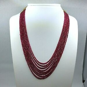 Women's Necklace 8 Strands Rodelle Natural Rubies Degrade 14k Yellow Gold Clasp