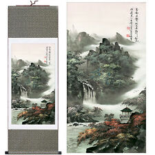 Home decor Chinese silk scroll painting Mountain scenery Ink painting decoration