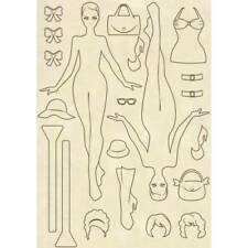 NEW Stamperia Wooden Shapes Embellishments Wilma Doll