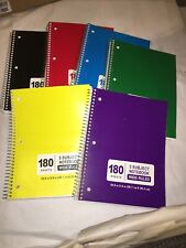 180 Sheet Wide Ruled 5 Subject Notebook - CASE OF 6