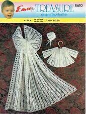 "Emu 8610 Baby Crochet Pattern Shawl Angel Top Bonnet 4 ply 18-20"" 3 - 12 months"
