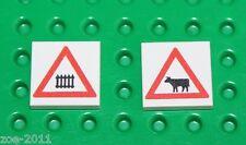 Lego 2x White Tile 2x2 Custom Printed Road Sign NEW!!! 15