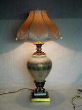 VTG 60s GOLD LEAF REGENCY DOUBLE PAINTED GLASS GLOBE, MARBLE, BRASS TABLE LAMP