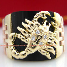 Genuine Diamond Solid 9k Yellow Rose White gold Engagement Wedding Scorpion Ring
