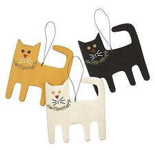 Country Farmhouse Set of 3 Hanging Wooden Cat Ornaments