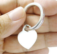 Key Ring Keychain Keyring Heart Tag Sterling 925 Silver
