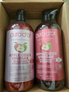 PURA D'OR Dor Apple Cider Vinegar Thin2Thick Shampoo & Conditioner  24oz Each