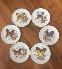 JKW 6 Piece small Porcelain Butterfly Plates coasters West Germany Bavaria