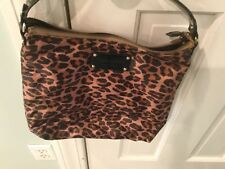 Kate Spade Brown and Black Leopard Print Nylon Hobo with Black Patent detailing