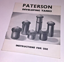 Instructions for Using the original Paterson Developing Tanks, 1966 - classic !