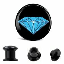 BLUE DIAMOND Acrylic Ear Plugs Piercing Tunnels Stretchers Saddle Gauges PL175