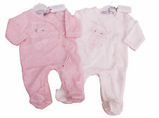 BNWT  Baby girls soft velour all in one owl sleep suit in pink or beige  4 sizes