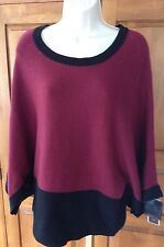 ALFANI WOMENS SIZE S SMALL Maroon Red Black Knit Colorblock Sweater, NEW NWT