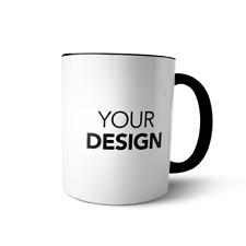 Coffee mug personalized Custom Photo Logo Name Printed Ceramic cup black Handle