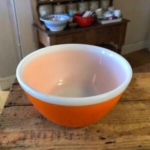 Vintage Bright Primary Orange Pyrex / JAJ Medium Glass Bowl – Great Colour! –